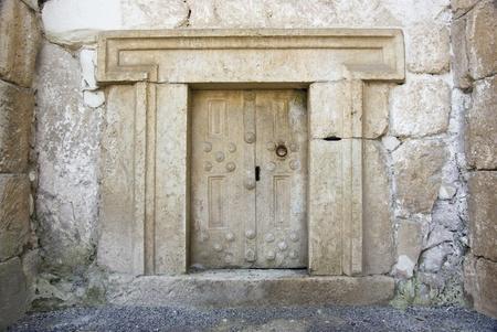 shearim: a massive stone door at Beit Shearim, an ancient jewish necropolis in Israel Stock Photo