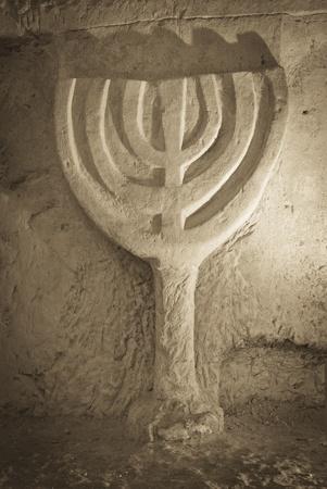 shearim: a jewish Menorah rock carved at the necropolis of beit shearim, Israel