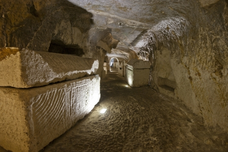 catacomb: the catacombs of Beit Shearim, an ancient jewish necropolis in Israel Stock Photo