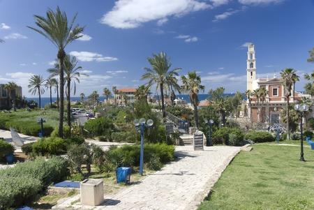 yaffo: vista de st. Peters iglesia en la antigua Jaffa Foto de archivo
