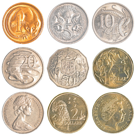 cent: Australia circulating coins isolated on white background