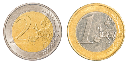 one and two Euro coin isolated on white background photo