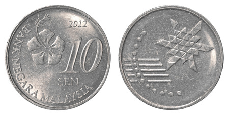 sen: 10 Malaysian sen coin isolated on white background - set Stock Photo