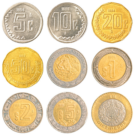 mexico circulating coins collection isolated on white background photo