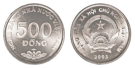 500 vietnamese dong coin isolated on white background - set Stock Photo