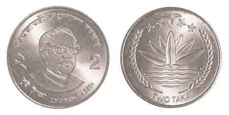 tk: 2 bangladeshi taka coin isolated on white background