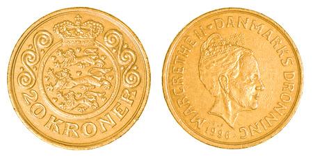 danish: 20 danish kroner coin isolated on white background Stock Photo