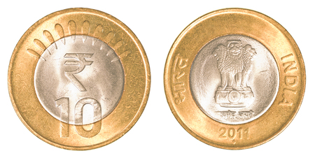 rupees: 10 indian rupees coin isolated on white background