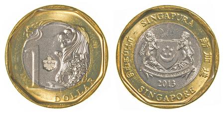 one singaporean dollar coin isolated on white background - set photo