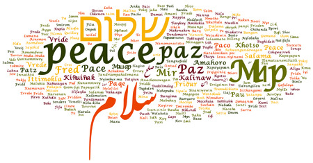 peace in different languages word cloud collage Stock Photo