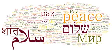 다른 언어의 단어 구름 콜라주의 평화