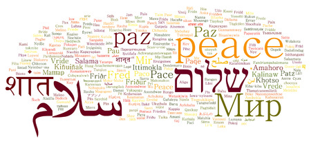 peace in different languages word cloud collage Stok Fotoğraf
