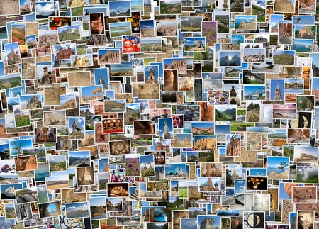 세계 각국의 여행 사진 콜라주