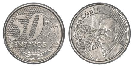 plundering: 50 Braziliaanse real centavos munt geïsoleerd op witte achtergrond
