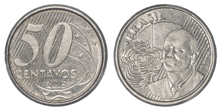 pillage: 50 Brazilian real centavos coin isolated on white background