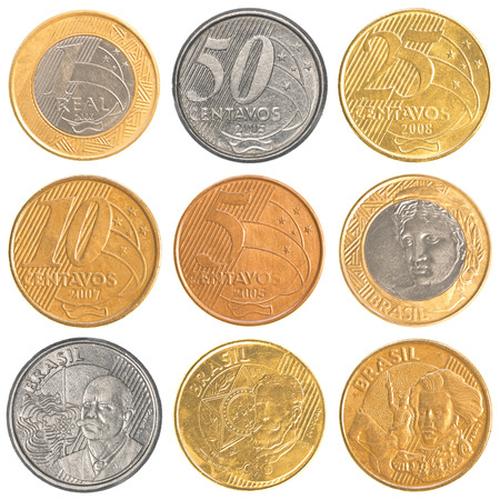 silver coins: brazil circulating coins collection set isolated on white background Stock Photo