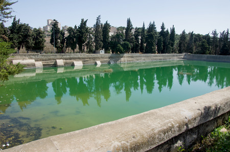 king solomon: Solomons Pools at the outskirst of Bethlehem, west bank, israel. these pools are part of the ancient water system of the city of Jerusalem Stock Photo