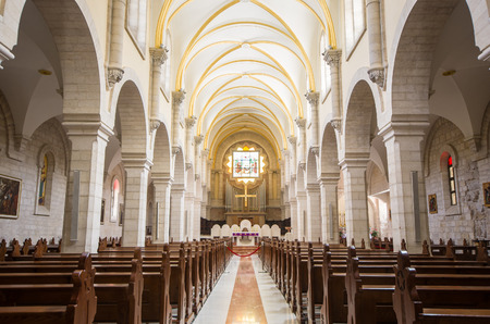 BETHLEHEM - APRIL 09: Interior of Church of St. Catherine on April 09, 2014 in Bethlehem, West Bank. The church, first recorded in the 15th century, is part of the Church of Nativity complex Editorial