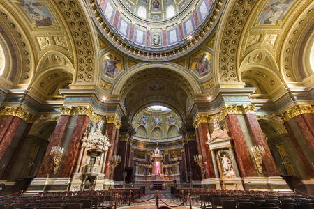 BUDAPEST, HUNGARY - APRIL 11: Interior of St. Stephens Basilica on Aprilt 11, 2014 in Budapest, Hungary. The Basilica is named in honor of Stephen - first King of Hungary.