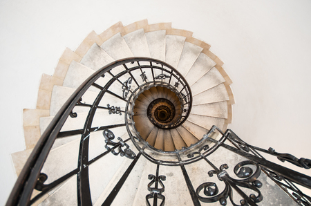 saint stephen cathedral: winding staircase at St. Istvan basilica, Budapest, Hungary Stock Photo