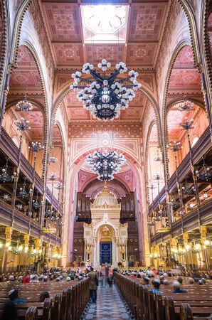 BUDAPEST, HUNGARY - APRIL 13: Interior of the Great Synagogue in Dohany Street on April 13, 2014 in Budapest, Hungary. The Dohany Street Synagogue is the largest synagogue in europe.