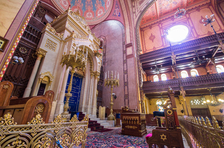 zionism: BUDAPEST, HUNGARY - APRIL 13: Interior of the Great Synagogue in Dohany Street on April 13, 2014 in Budapest, Hungary. The Dohany Street Synagogue is the largest synagogue in europe. Editorial