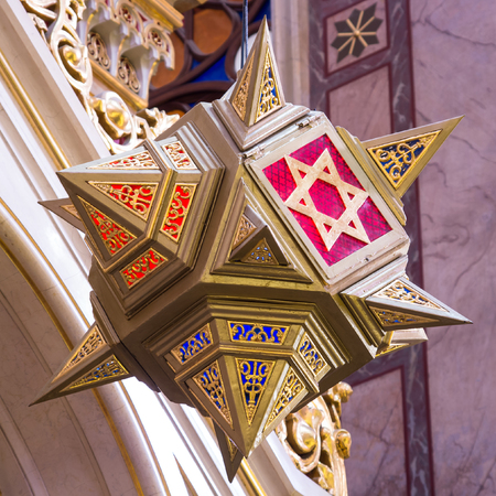 zionism: Star of David hanging over the altar of Dohany street Synagogue at Budapest, Hundary Editorial