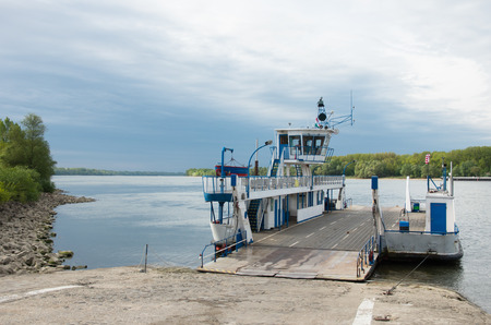 vac: transport ferry docking on the banks of the danube river, Vac, Hungary