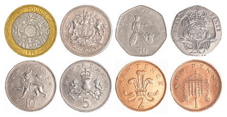 england circulating coins collection set isolated on white background