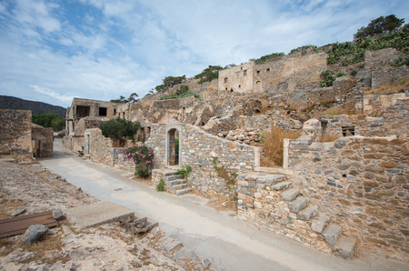 ancient prison: Abandoned leper colony, Spinalonga Fortress, Crete Greece