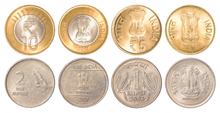 india circulating coins collection set isolated on white background