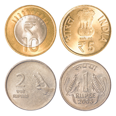 five rupee: india circulating coins collection set isolated on white background