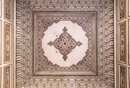 cieling: mughal paintings at Hawa Mahal, Jaipur - Rajasthan, India Editorial