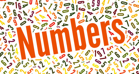 numerical code: word cloud background composed out of numbers with the word Numbers
