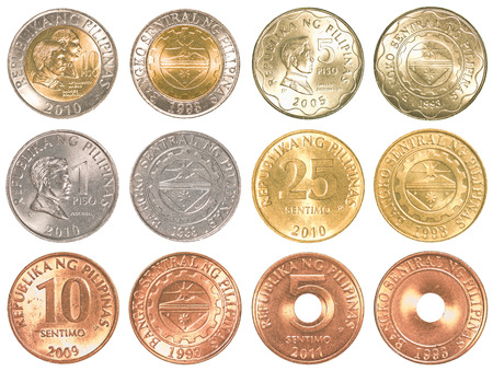 philippines peso coins collection set isolated on white background photo