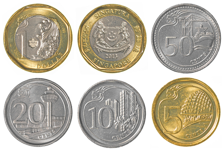 golden coins: singaporean dollar coins collection set isolated on white background Stock Photo