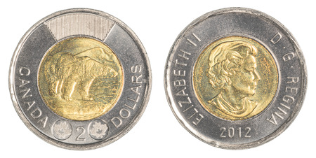 canadian coin:  2 canadian dollar coin Stock Photo