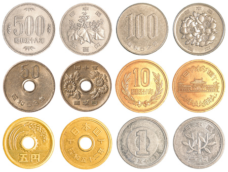 2 50: Japanese Yen coins collection set isolated on white background