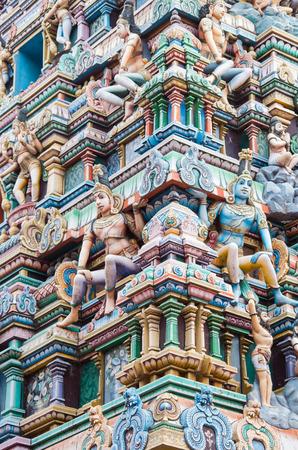 parvati: Detail of hindu dieties carved in a temple in Varanasi - India