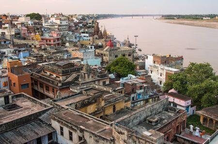 varanasi: varanasi cityscape ant Ganges river at sunset, India