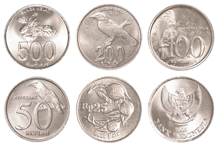 five rupee: indonesian rupiah coins collection set isolated on white background