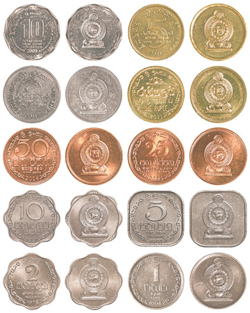 five rupee: sri lankan rupee  coins collection set isolated on white background Stock Photo
