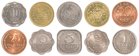 sri lankan rupee  coins collection set isolated on white background photo