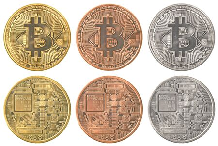 crypto: bitcoins collection set isolated on white background Stock Photo