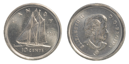 canadian coin: TORONTO, CANADA - FEBRUARY 20, 2015: 10 canadian cents coin Editorial