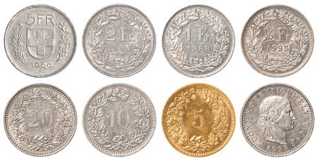 half cent: Swiss Franc coins collection set isolated on white background