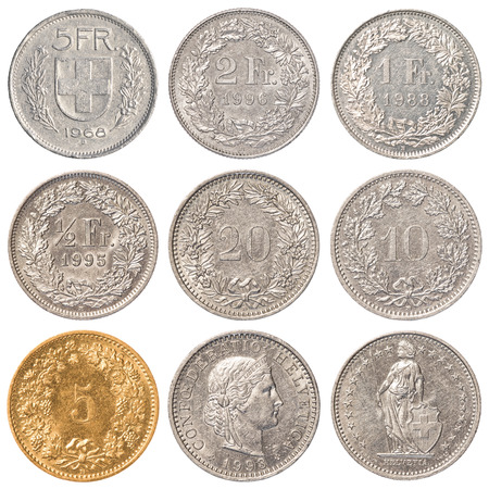 helvetia: Swiss Franc coins collection set isolated on white background