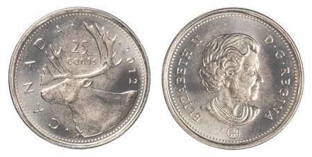 monete antiche: TORONTO, CANADA - 20 febbraio 2015: 25 centesimi canadesi moneta