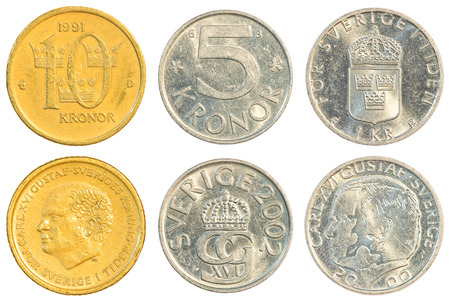 five cents: swedish krona coins collection set isolated on white background