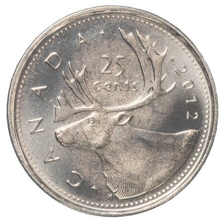 canadian coin: TORONTO, CANADA - FEBRUARY 20, 2015: 25 canadian cents coin